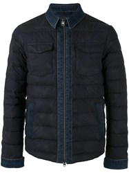 Etro Denim Detail Down Jacket Blue