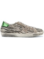 Golden Goose Deluxe Brand Zebra Print Superstar Sneakers Black