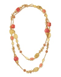 Jose And Maria Barrera Long 24K Gold Plate Bead Necklace Coral
