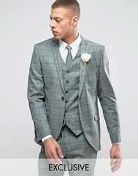 Heart And Dagger Slim Suit Jacket In Summer Wedding Check Green