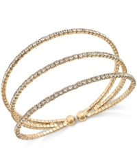 Macy's Gold Tone Pave Three Row Cuff Stretch Bracelet
