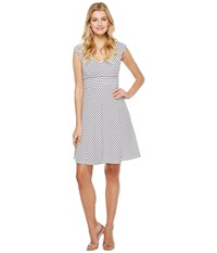 Adrianna Papell Cap Sleeve Stripe Fit And Flare Dress White Blue Moon Women's Dress Multi