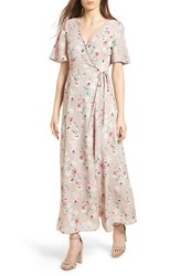 Lush Floral Print Wrap Maxi Dress Taupe Rose Floral