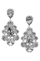 L. Erickson Women's 'Flora' Chandelier Earrings Black Diamond Silver