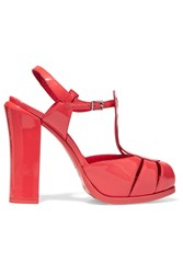 Fendi Chameleon Patent Leather Sandals Orange