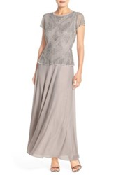 Pisarro Nights Embellished Mech And Chiffon Gown Regular And Petite Gray