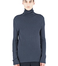 Aiezen Ribbed Polo Neck Sweater Grey
