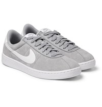 Nike Bruin Leather Trimmed Nubuck Sneakers Gray