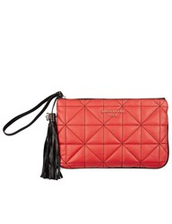 Sonia Rykiel Red Leather Quilted Zip Pouch
