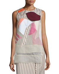 Acne Studios Artist Sleeveless Striped Top W Overlay Natural Mix Women's