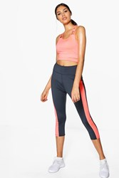 Boohoo Fit Colour Block Capri Running Leggings Grey