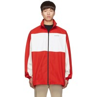 Balenciaga Red And White Zip Up Jacket