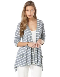 Candc California Striped Open Front Cardigan Dutch Blue