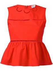 Red Valentino Open Embroidery Peplum Top Women Cotton Polyester 38 Red