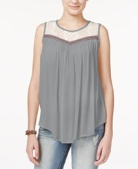 Jolt Juniors' Lace Trim Tank Top Heathe Grey