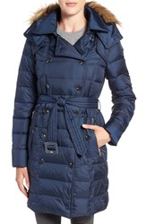 Sam Edelman Women's Faux Fur Trim Down Coat Navy