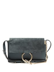 Chloe Faye Small Suede And Leather Shoulder Bag Navy