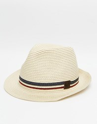 Fred Perry Straw Trilby Hat Beige