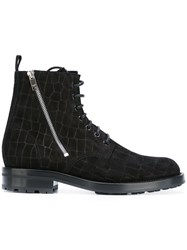 Saint Laurent Short Zip Army Boots Black