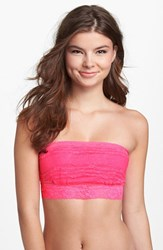 Women's Free People Scalloped Lace Bandeau Neon Pink