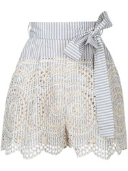 Zimmermann Striped Broderie Anglaise Shorts Women Cotton 3 Blue