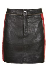 Topshop Leather Colourblock Biker Skirt Black
