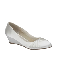 Gleam Round Toe Satin Wedge Shoes Ivory