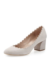 Chloe Scalloped Leather Pump Cloud Gray
