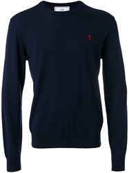 Ami Alexandre Mattiussi Embroidered Logo Jumper Men Wool Xl Blue