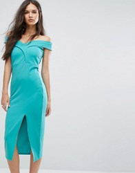 Outrageous Fortune Bardot Pencil Dress With Split Green