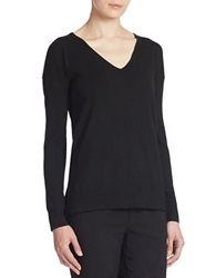 Lord And Taylor Plus Merino Wool Knit V Neck Tunic Black