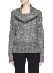 Ms Min Mesh Cable Knit Sweater Grey