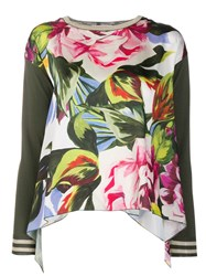 Blugirl Floral Print Knitted Top Green