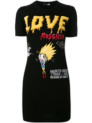Love Moschino Graphic Print T Shirt Dress Women Cotton 44 Black