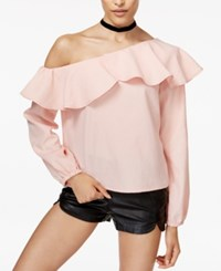 Minkpink On The Sly Ruffled One Shoulder Top Pink