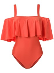 Adriana Degreas Ruffled Swimsuit Yellow Orange