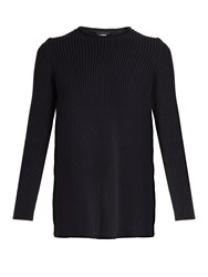 The Row Selina Ribbed Knit Cotton Blend Sweater Navy