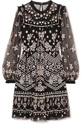 Needle And Thread Esme Embroidered Tulle Dress Black