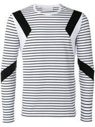 Neil Barrett Geometric Insert Striped Top White