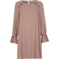 River Island Womens Pink Frill Long Sleeve Smock Swing Dress