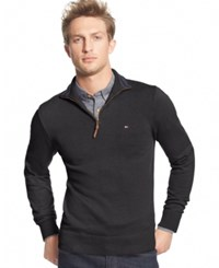 Tommy Hilfiger Men's Big And Tall Signature Solid Quarter Zip Sweater Charcoal Grey Heather