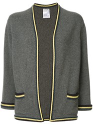 Chanel Vintage Striped Pattern Cardigan Grey