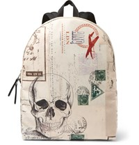 Alexander Mcqueen Letters From India Printed Canvas Backpack Tan