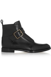 Alexander Wang Monk Strap Leather Ankle Boots Black