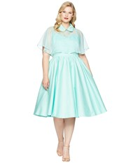 Unique Vintage Plus Size Luna Swing Dress Mesh Capelet Mint Green