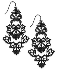 Bar Iii Jet Tone Filigree Chandelier Earrings Black