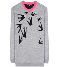 Mcq By Alexander Mcqueen Printed Wool Sweater Grey