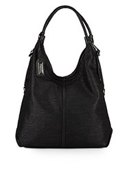Badgley Mischka Dany Woven Leather Hobo Bag Black