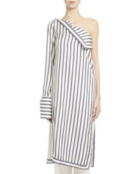 Monse Striped Silk Twill One Shoulder Dress White Blue White Blue