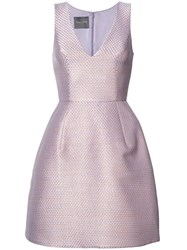 Monique Lhuillier Metallic Flared Dress Women Silk 10 Pink Purple